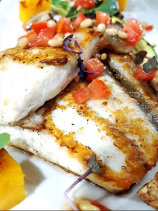 Turbot steak and grilled vegetables with a Mediterranean vinaigrette